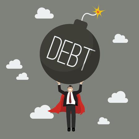 Businessman superhero carry debt bomb. Business concept