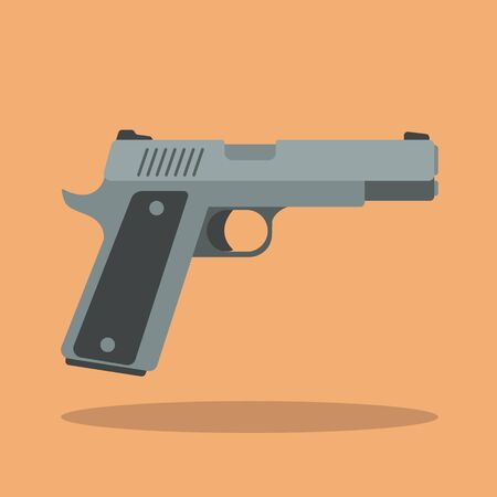 handgun: Handgun. Flat style design Illustration