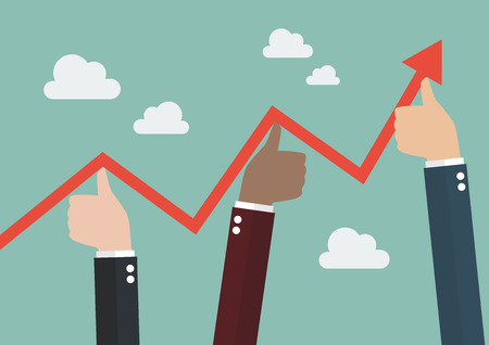 good cheer: Thumbs up pushing graph up. Business concept