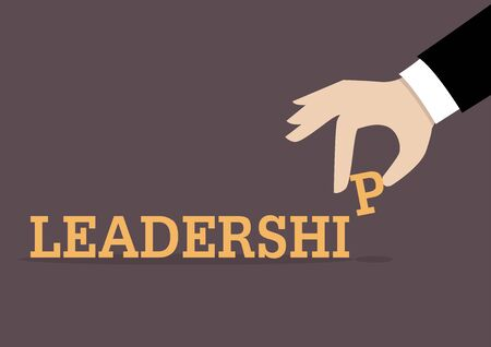inserts: Hand inserts the last alphabet into leadership word. Business concept Illustration