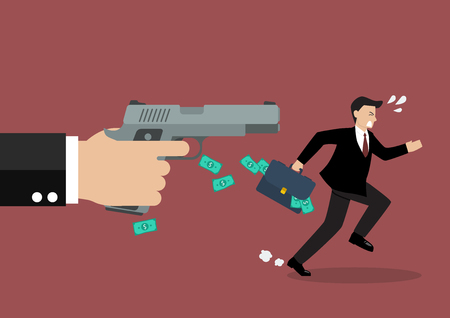 Businessman running away from a hand holding gun. Business concept Illustration