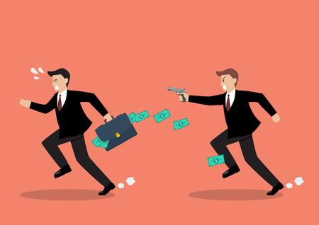 assassinate: Businessman running away from a man holding gun. Business concept