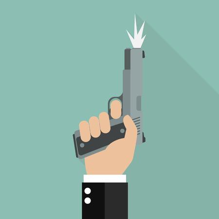 Hand firing a gun for starting race. Business startup concept Illustration