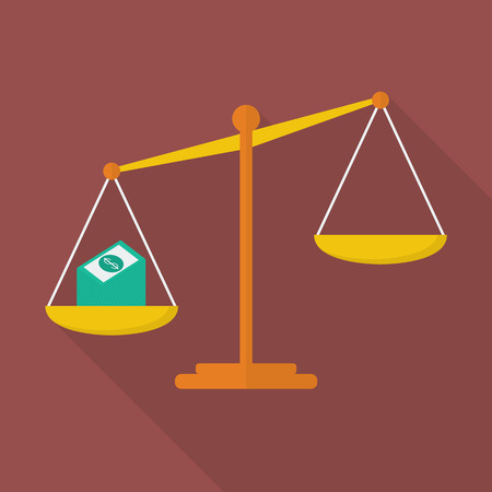 justice scale: Balance scale with cash money. justice concept