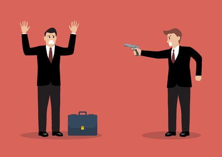 cartoon gangster: Businessman hold a handgun robs a businessman with briefcase. Business concept