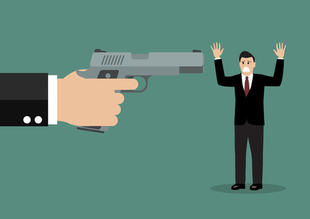 loot: Hand with a handgun robs a businessman. Vector illustration