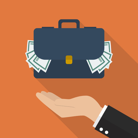 pillage: Hand with briefcase full of money. Flat style design with long shadow