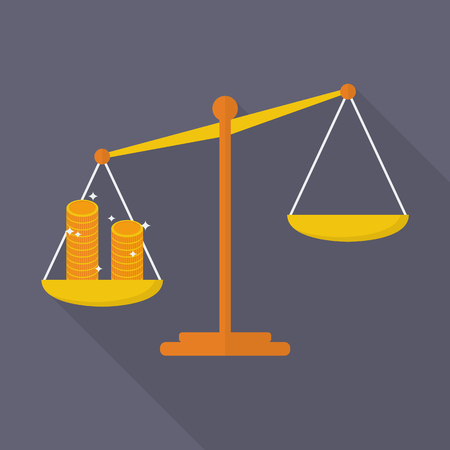 justice scale: Balance scale with coin. justice concept