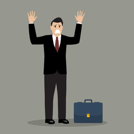 surrendering: Businessman in a suit surrendering. both hands up