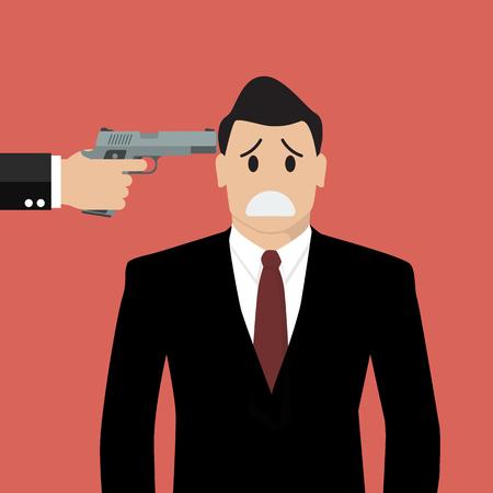 burglary: Gun point to businessman head. Business concept