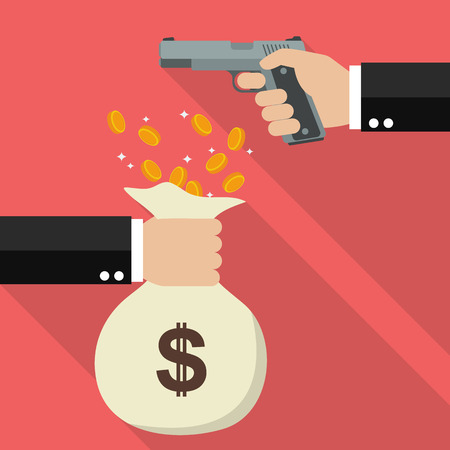 money bag: Hand holding a handgun for robbery. Flat style design with long shadow