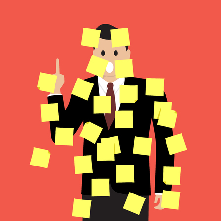 sticky notes: Businessman with a lot of sticky notes. Vector Illustration