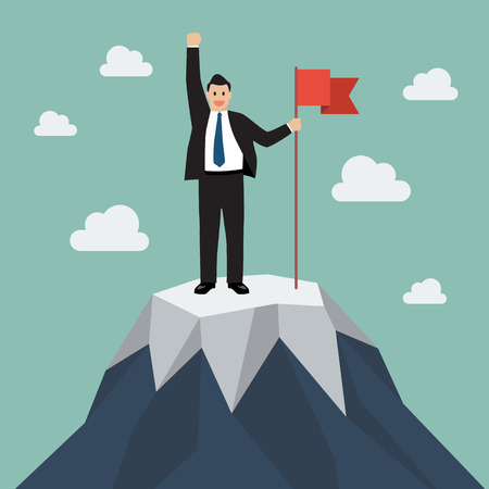 Businessman with flag on a Mountain peak. Business success concept