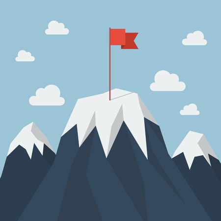 Red flag on a Mountain peak. Business success concept