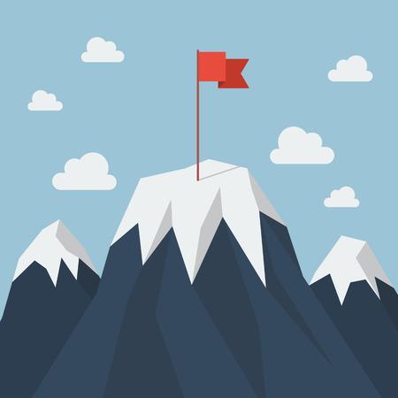 Drapeau rouge sur un pic de montagne. concept de réussite en affaires