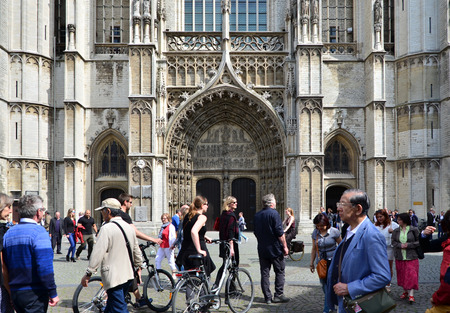 benelux: Antwerp, Belgium - May 10, 2015: Tourist visit Cathedral of Our Lady on May 10, 2015 in Antwerp, Belgium. The cathedral was completed in 1521 and this is the highest church in the Benelux with 123 m (404 ft) of height.