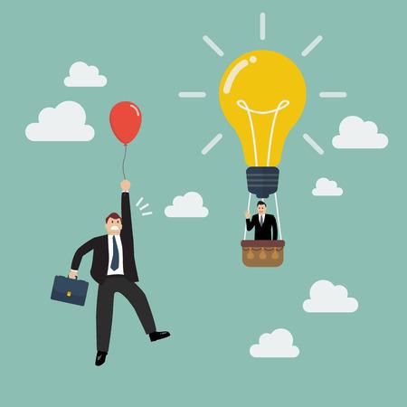 Businessman in lightbulb balloon fly pass businessman with red balloon. Business competition concept 向量圖像