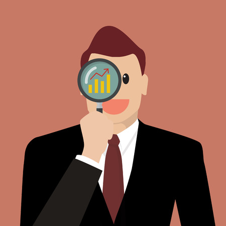 Businessman looking for business future through a magnifying glass. Business concept Illustration