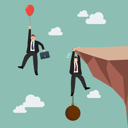 rock cliff: Businessman with red balloon fly pass businessman hold on the cliff with burden. Business competition concept