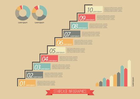 Vintage Staircase Infographic. Ten steps to success