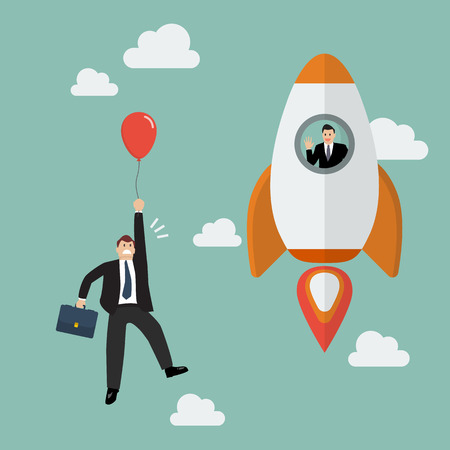 red balloon: Businessman on a rocket fly pass Businessman with red balloon. Business competition concept