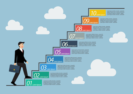 Businessman stepping up a staircase infographic. Ten steps to success