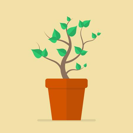 Plant in pot flat icon. Vector Illustration