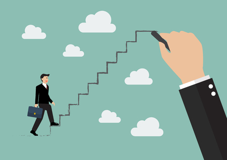 up stair: Businessman stepping up on drawing stair. Business concept
