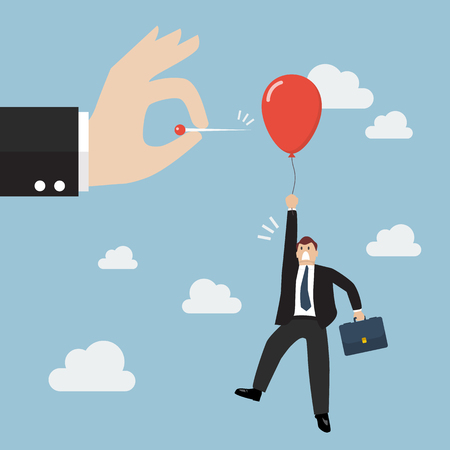 Hand pushing needle to pop the balloon of rival. Business competition concept