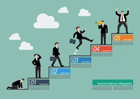 Zakenman met trap infographic. Stappen naar succes Stock Illustratie