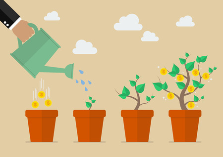 einsparung: Hand mit Gießkanne Geld Baum. Finanzwachstumkonzept.