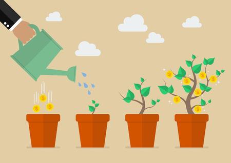 regar las plantas: Mano con la poder de riego árbol del dinero. concepto de crecimiento financiero.