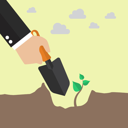 tree planting: Hand planting a tree. Vector illustration