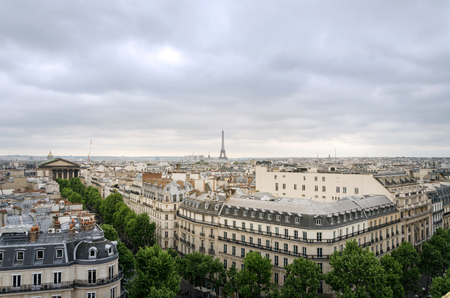 the madeleine: Rooftop Paris Skyline with Madeleine Church and Eiffel Tower, France