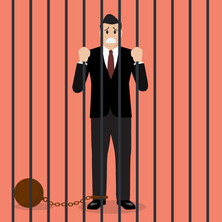 detain: Businessman with weight in prison. Business concept