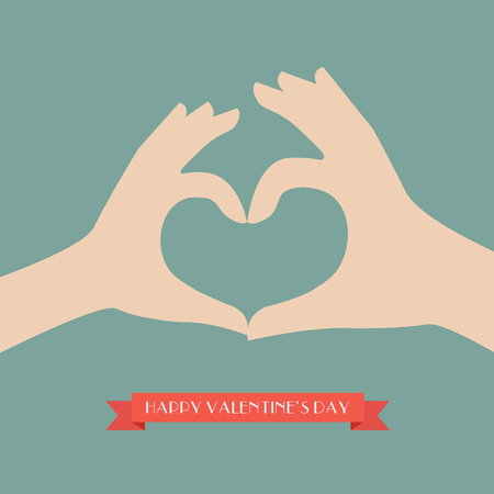 Woman and man hands making up heart shape. Vector Illustration 向量圖像