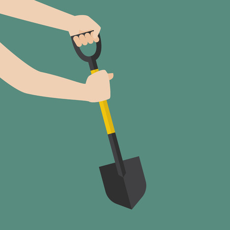 hand hold: Hand hold shovel prepare to dig. Vector Illustration