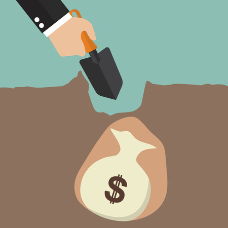 Hand dig a ground to find a treasure. Business concept