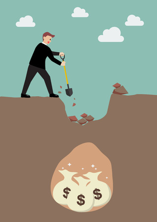 attract: Businessman digging a ground to find a treasure. Business concept Illustration