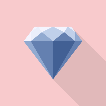 faceting: Diamond icon flat style with long shadow