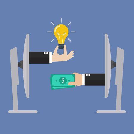 lightbulb idea: Exchange lightbulb idea and money online. e-commerce concept Illustration