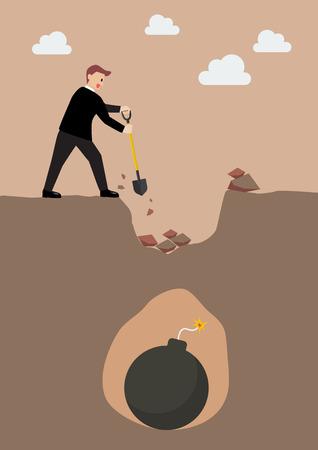 investment concept: Businessman in danger. Investment risk concept