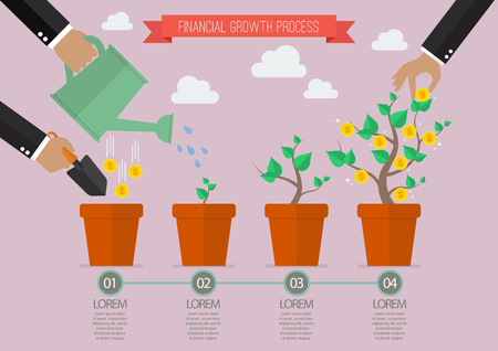 plant seed: Financial growth process timelline infographic. Planting process business metaphor Illustration