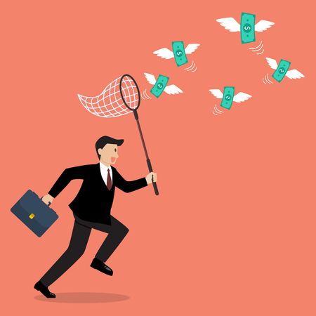 Businessman trying to catch money. Business concept
