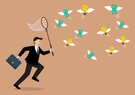 business metaphor: Businessman trying to catch money and lightbulb idea. Business metaphor