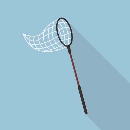 Schmetterlingsnetz flach Symbol mit langen Schatten Standard-Bild - 51374901