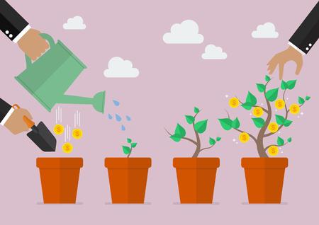 business metaphor: Financial growth process. Planting process business metaphor Illustration