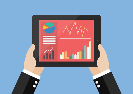 inforgraphic: Hands hold tablet with flat simplistic inforgraphic charts on a screen. Flat style design