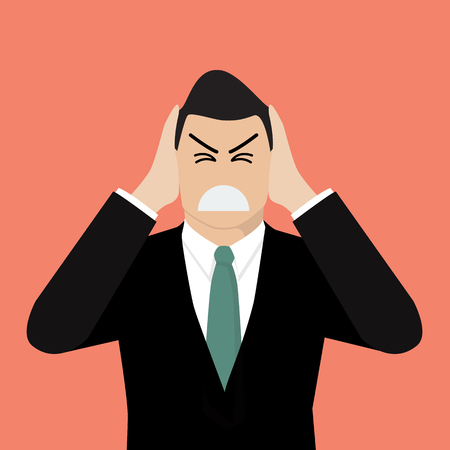 charactor: Businessman covering his ears with his hands. Vector illustration