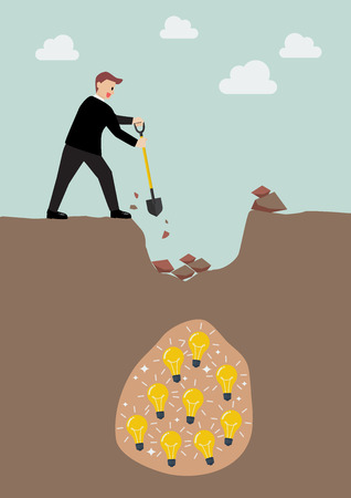 digging: Businessman digging a ground to find an idea. Business concept Illustration